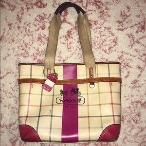 Coach Heritage Stripe Tattersall Leather Tote